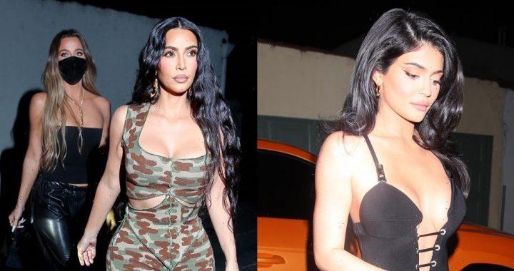Kylie Jenner Arrives In Style For Dinner With Sisters Kim & Khloe Kardashian