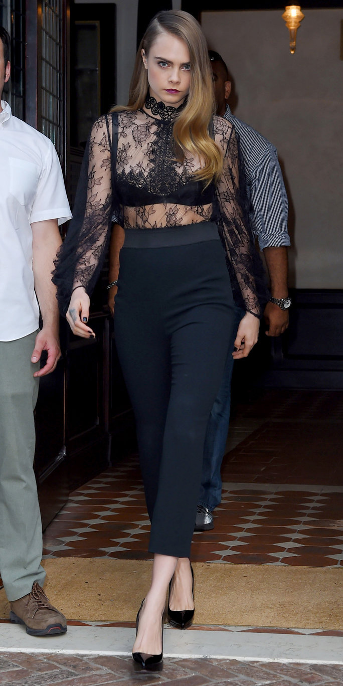 Gal Gadot opted for a sheer black long-sleeved bodice …